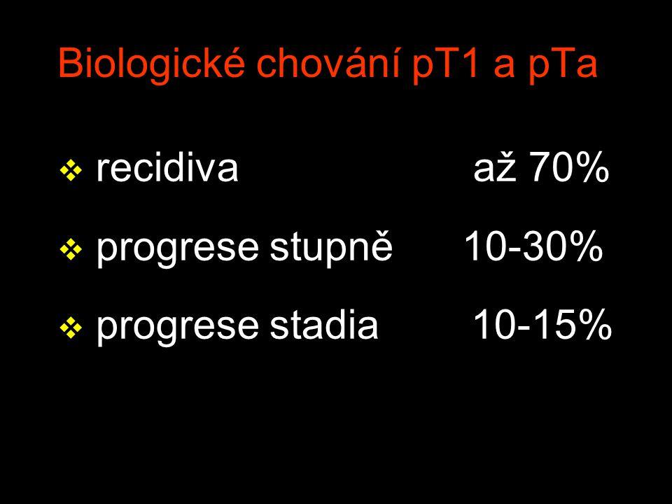 Biologické chování pT1 a pTa v recidiva až 70% v progrese stupně 10-30% v progrese stadia 10-15%