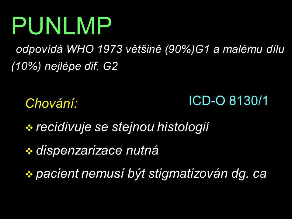 PUNLMP odpovídá WHO 1973 většině (90%)G1 a malému dílu (10%) nejlépe dif. G2 Chování: v recidivuje se stejnou histologií v dispenzarizace nutná v paci