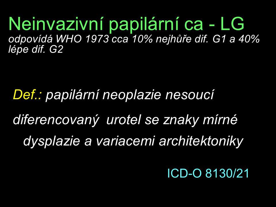 Neinvazivní papilární ca - LG odpovídá WHO 1973 cca 10% nejhůře dif. G1 a 40% lépe dif. G2 Def.: papilární neoplazie nesoucí diferencovaný urotel se z