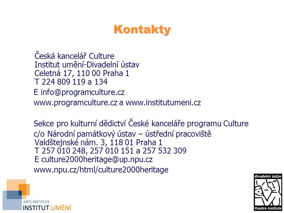 Kontakty Česká kancelář Culture Institut umění-Divadelní ústav Celetná 17, 110 00 Praha 1 T 224 809 119 a 134 E info@programculture.cz www.programcult