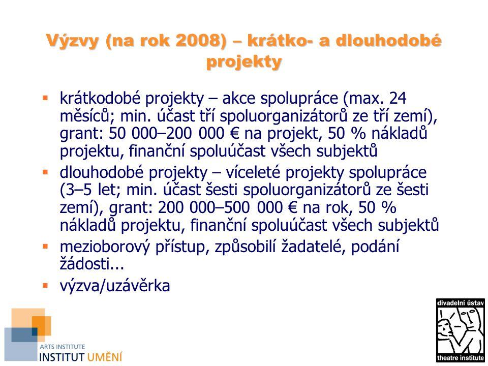 Výzvy (na rok 2008) – krátko- a dlouhodobé projekty  krátkodobé projekty – akce spolupráce (max. 24 měsíců; min. účast tří spoluorganizátorů ze tří z