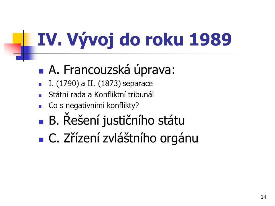 IV. Vývoj do roku 1989 A. Francouzská úprava: I. (1790) a II. (1873) separace Státní rada a Konfliktní tribunál Co s negativními konflikty? B. Řešení