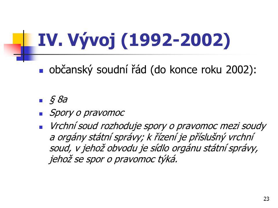 IV. Vývoj (1992-2002) občanský soudní řád (do konce roku 2002): § 8a Spory o pravomoc Vrchní soud rozhoduje spory o pravomoc mezi soudy a orgány státn