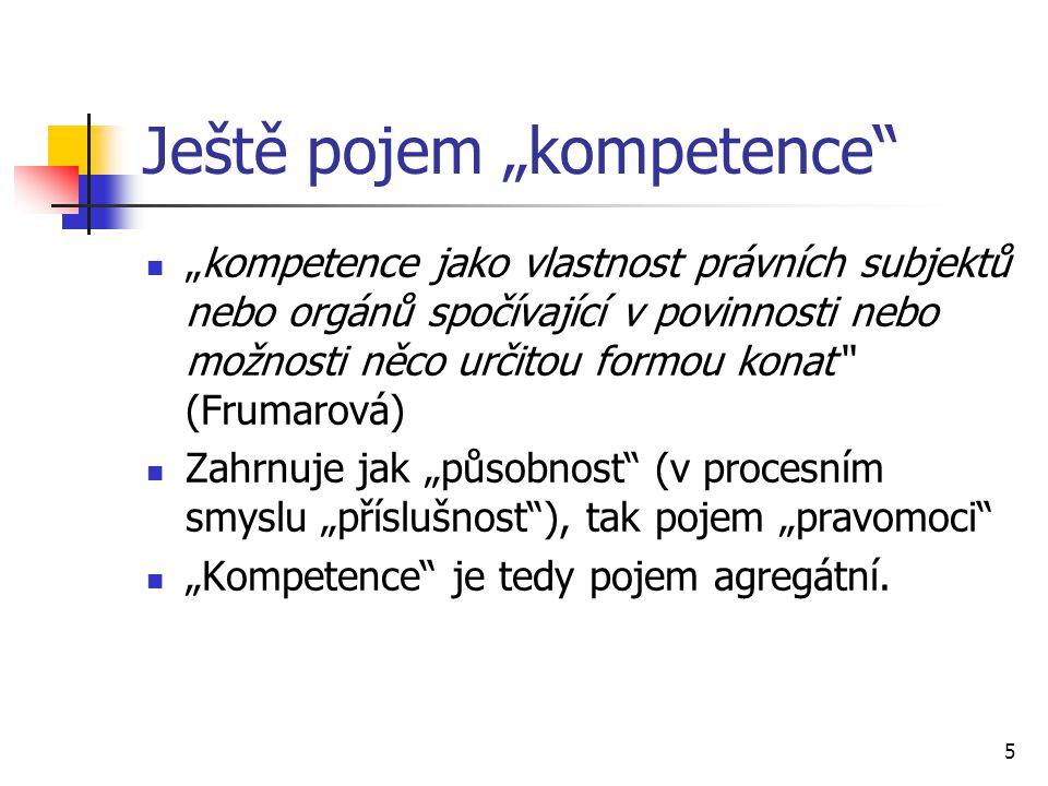 """Ještě pojem """"kompetence"""" """"kompetence jako vlastnost právních subjektů nebo orgánů spočívající v povinnosti nebo možnosti něco určitou formou konat"""" (F"""