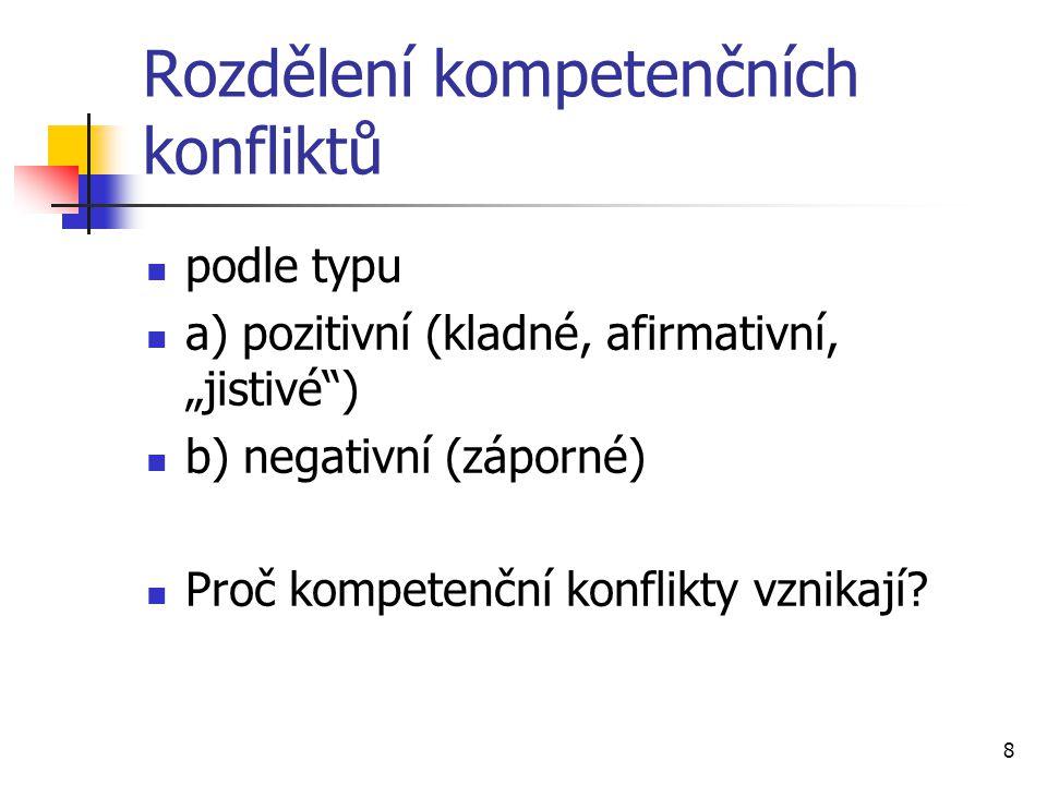 """Rozdělení kompetenčních konfliktů podle typu a) pozitivní (kladné, afirmativní, """"jistivé"""") b) negativní (záporné) Proč kompetenční konflikty vznikají?"""