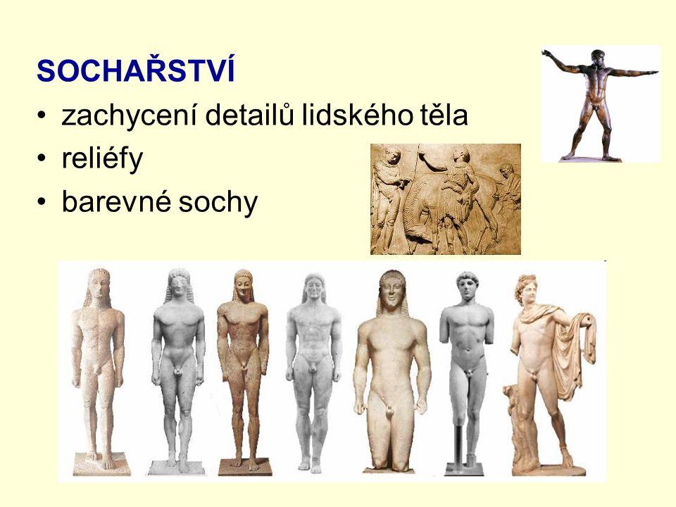 SOCHAŘSTVÍ zachycení detailů lidského těla reliéfy barevné sochy