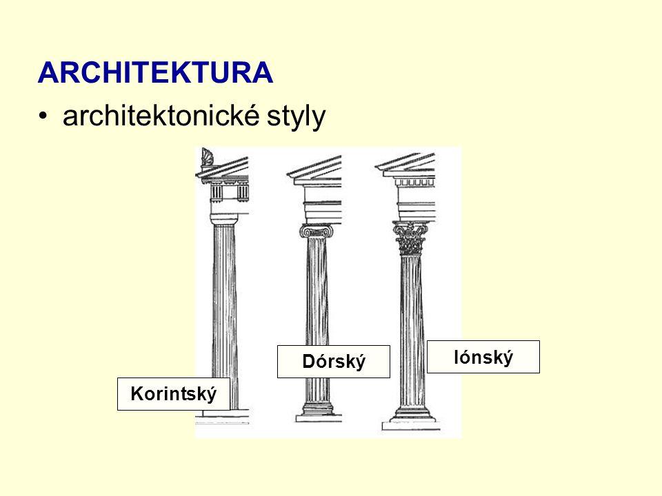 ARCHITEKTURA architektonické styly Korintský Dórský Iónský