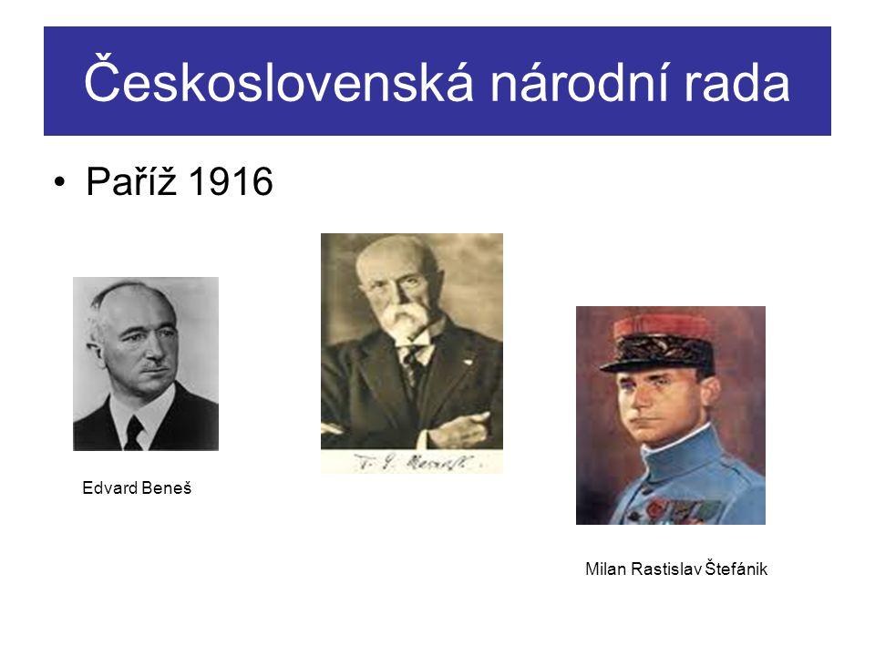 Československá národní rada Paříž 1916 Edvard Beneš Milan Rastislav Štefánik