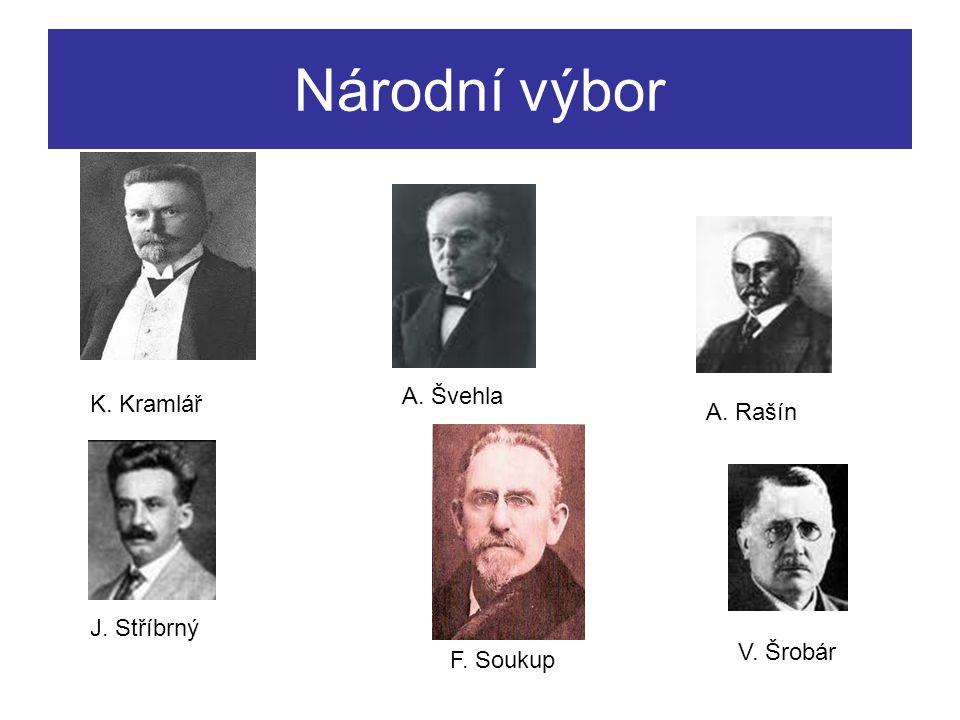 Národní výbor A. Rašín V. Šrobár J. Stříbrný K. Kramlář A. Švehla F. Soukup