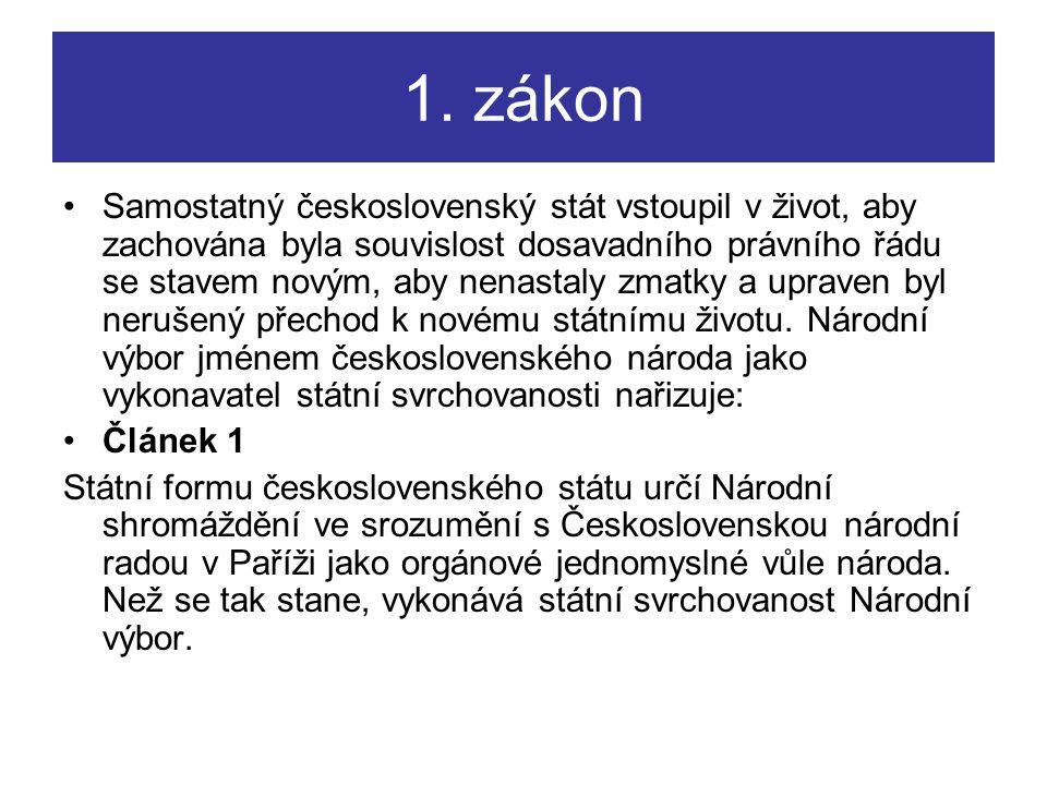 1. zákon Samostatný československý stát vstoupil v život, aby zachována byla souvislost dosavadního právního řádu se stavem novým, aby nenastaly zmatk