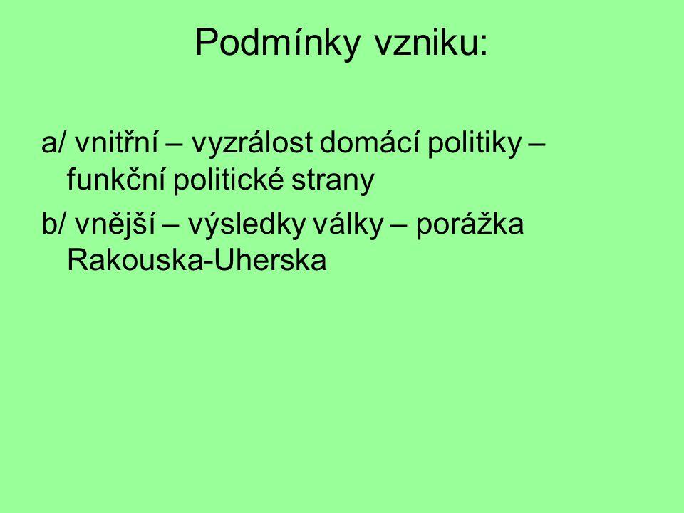 Podmínky vzniku: a/ vnitřní – vyzrálost domácí politiky – funkční politické strany b/ vnější – výsledky války – porážka Rakouska-Uherska