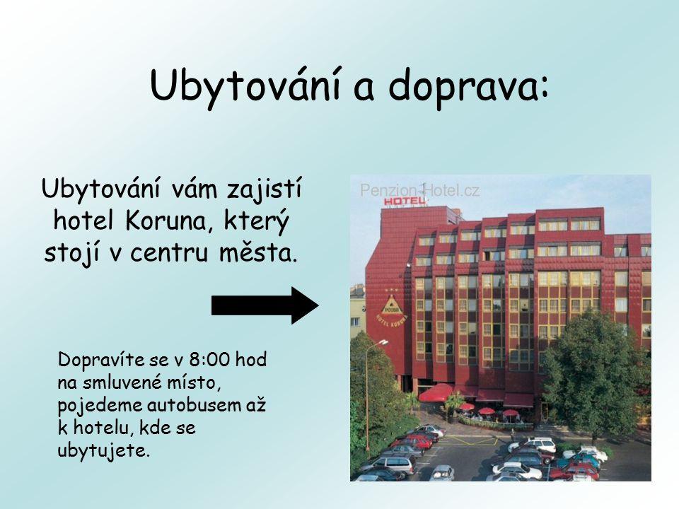 Ubytování a doprava: Ubytování vám zajistí hotel Koruna, který stojí v centru města. Dopravíte se v 8:00 hod na smluvené místo, pojedeme autobusem až