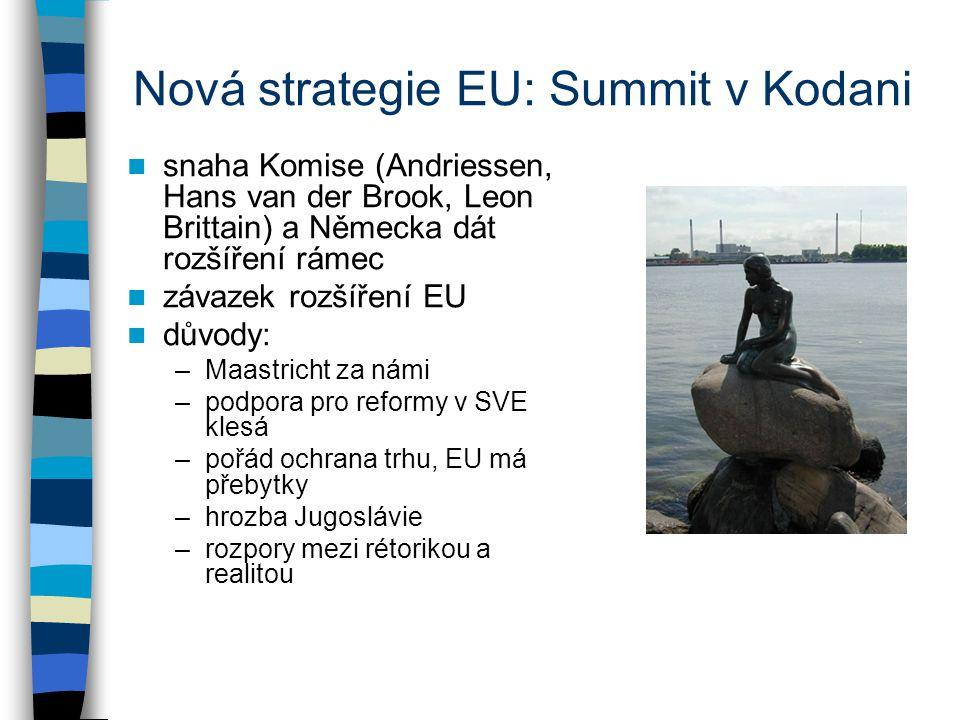 Nová strategie EU: Summit v Kodani snaha Komise (Andriessen, Hans van der Brook, Leon Brittain) a Německa dát rozšíření rámec závazek rozšíření EU důvody: –Maastricht za námi –podpora pro reformy v SVE klesá –pořád ochrana trhu, EU má přebytky –hrozba Jugoslávie –rozpory mezi rétorikou a realitou