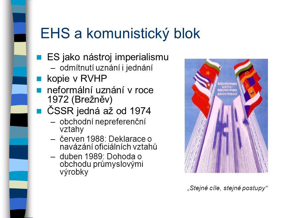"""EHS a komunistický blok ES jako nástroj imperialismu –odmítnutí uznání i jednání kopie v RVHP neformální uznání v roce 1972 (Brežněv) ČSSR jedná až od 1974 –obchodní nepreferenční vztahy –červen 1988: Deklarace o navázání oficiálních vztahů –duben 1989: Dohoda o obchodu průmyslovými výrobky """"Stejné cíle, stejné postupy"""