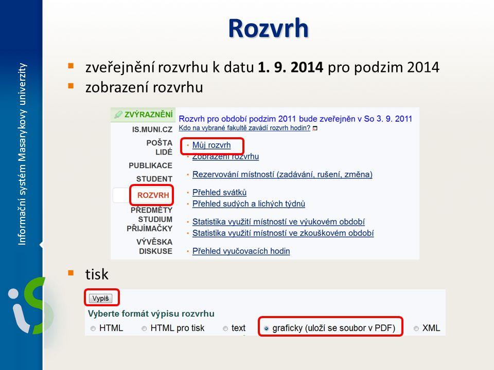  zveřejnění rozvrhu k datu 1. 9. 2014 pro podzim 2014  zobrazení rozvrhu  tisk Rozvrh Informační systém Masarykovy univerzity