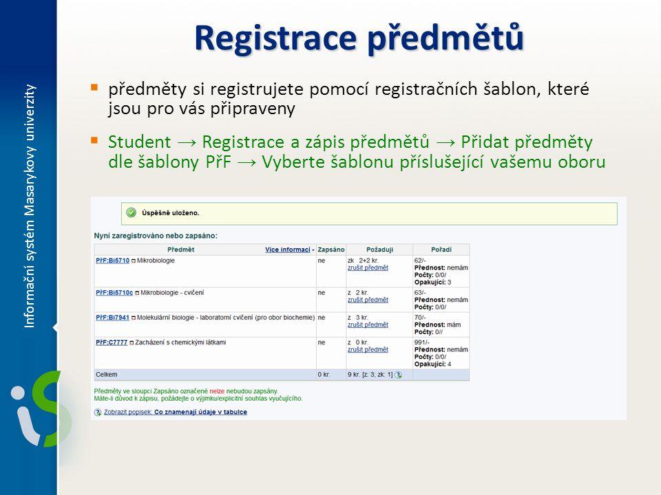 Registrace předmětů  předměty si registrujete pomocí registračních šablon, které jsou pro vás připraveny  Student → Registrace a zápis předmětů → Přidat předměty dle šablony PřF → Vyberte šablonu příslušející vašemu oboru Informační systém Masarykovy univerzity