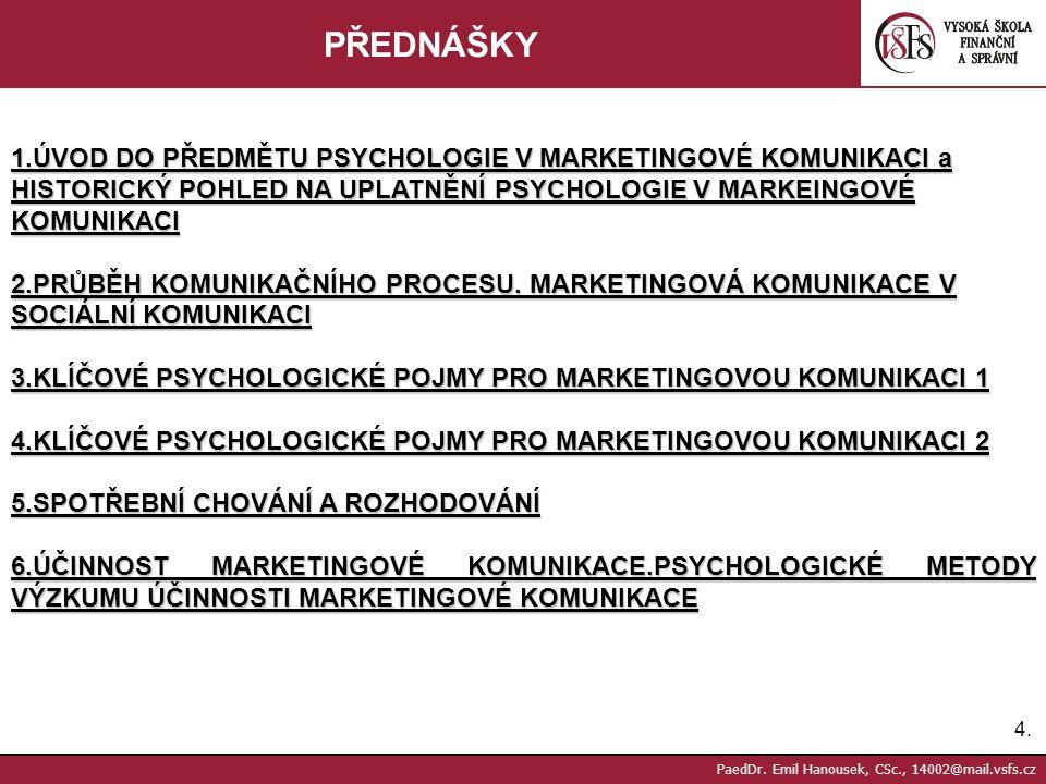 3.3. PaedDr. Emil Hanousek, CSc., 14002@mail.vsfs.cz LITERATURA Povinná literatura: Boučková, J., a kol.: Marketing, Praha, C.H.Beck, 2003 Hradiská, E