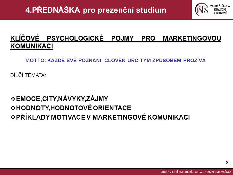 7.7. PaedDr. Emil Hanousek, CSc., 14002@mail.vsfs.cz 3.PŘEDNÁŠKA pro prezenční studium KLÍČOVÉ PSYCHOLOGICKÉ POJMY PRO MARKETINGOVOU KOMUNIKACI MOTTO: