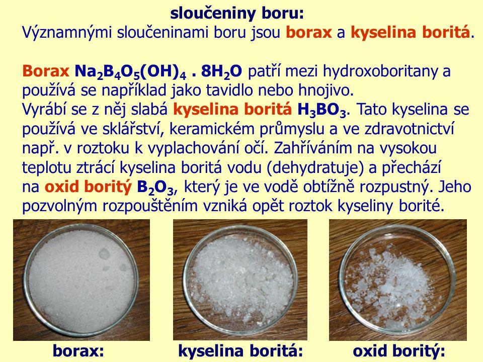 sloučeniny boru: dehydrogenace kyseliny borité a její následný vznik: 2H 3 BO 3 (t) → B 2 O 3 + 3H 2 OB 2 O 3 + 3H 2 O → 2H 3 BO 3