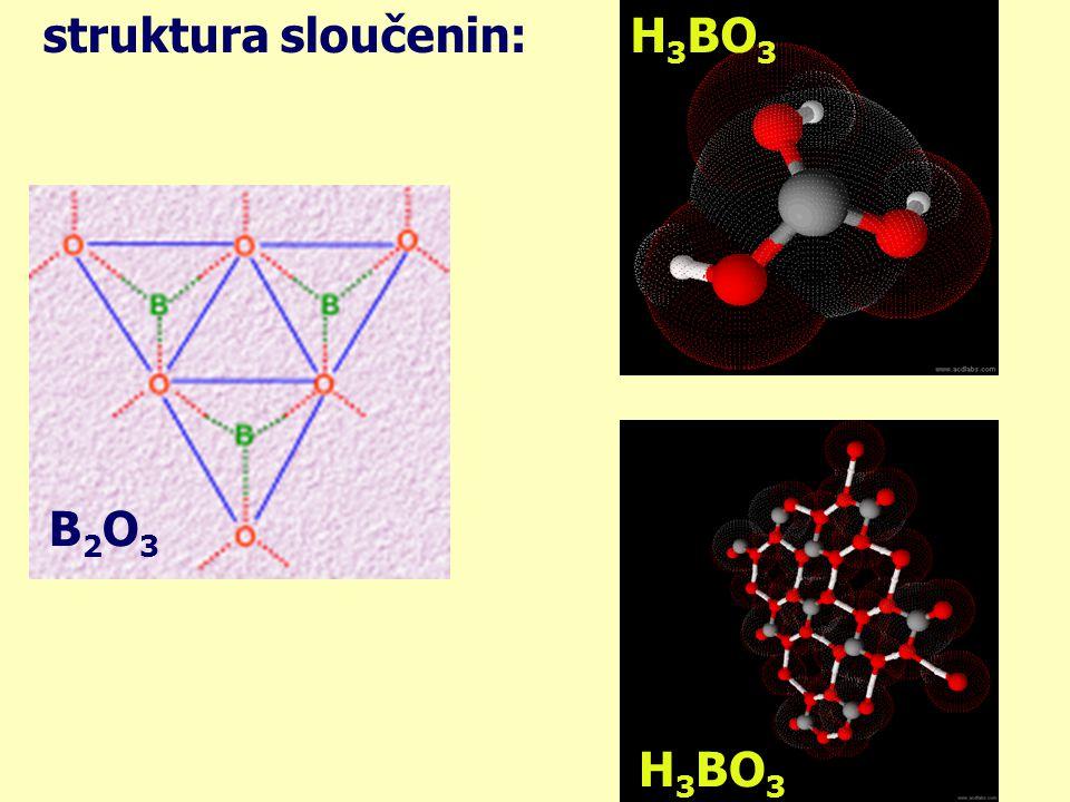 sloučeniny boru: kyselina boritá v analytice: používá se k odlišení methanolu a ethanolu: methanolethanol