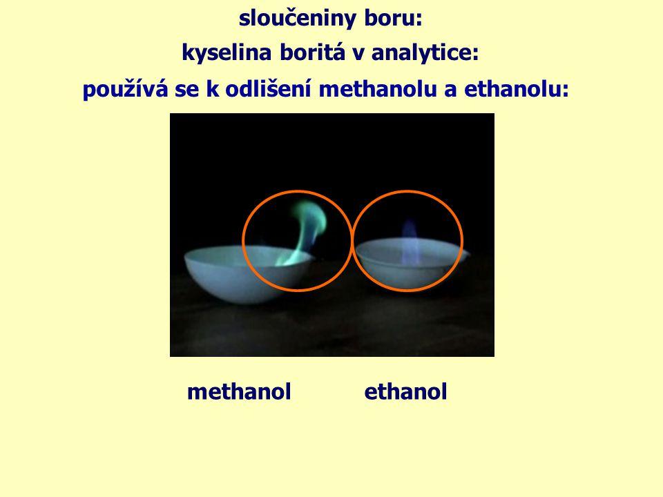 sloučeniny boru: kyselina boritá v analytice: používána k odlišení kovových iontů – boraxové perličky: