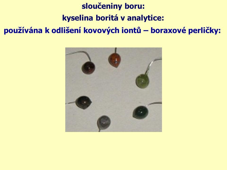 chemické vlastnosti boru - shrnutí: B 2 O 3 + 3Mg → B 2 O 3 + 3H 2 O → B 2 O 3 + 6Na → 2H 3 BO 3 (t) → B 2 O 3 + 3H 2 O 2H 3 BO 3 2B + 3Na 2 O 2B + 3MgO doplňte reakce podle předpokládaného průběhu: