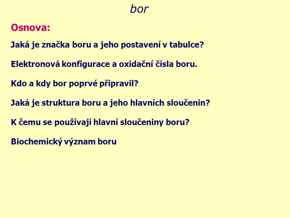 bor značka boru je odvozena z latinského názvu: BORUM vyberte správnou značku boru: Be Ba Bm Br B Bo