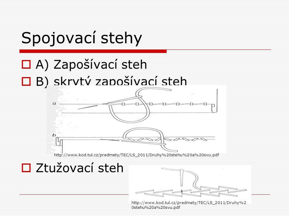 Spojovací stehy  A) Zapošívací steh  B) skrytý zapošívací steh  Ztužovací steh http://www.kod.tul.cz/predmety/TEC/LS_2011/Druhy%20stehu%20a%20svu.p