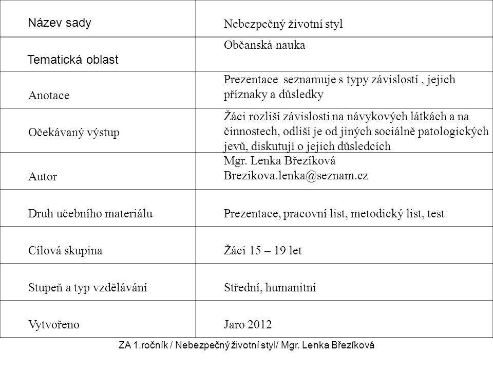 Název sady Nebezpečný životní styl Tematická oblast Občanská nauka Anotace Prezentace seznamuje s typy závislostí, jejich příznaky a důsledky Očekávan