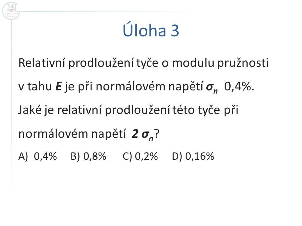 Úloha 3 Relativní prodloužení tyče o modulu pružnosti v tahu E je při normálovém napětí σ n 0,4%. Jaké je relativní prodloužení této tyče při normálov