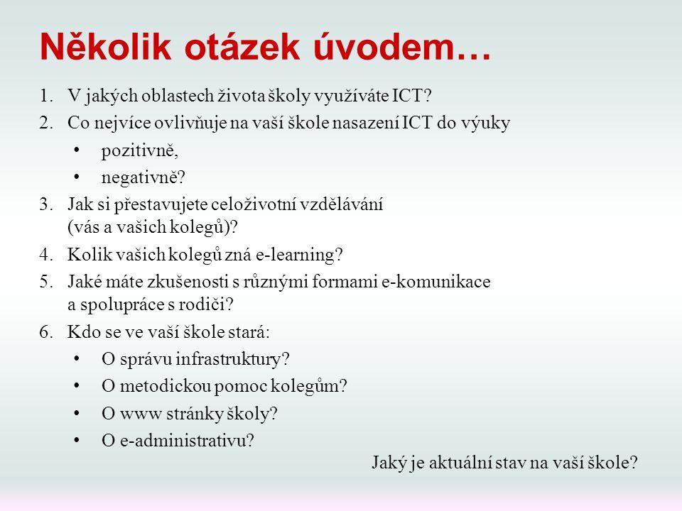 Několik otázek úvodem… 1.V jakých oblastech života školy využíváte ICT? 2.Co nejvíce ovlivňuje na vaší škole nasazení ICT do výuky pozitivně, negativn