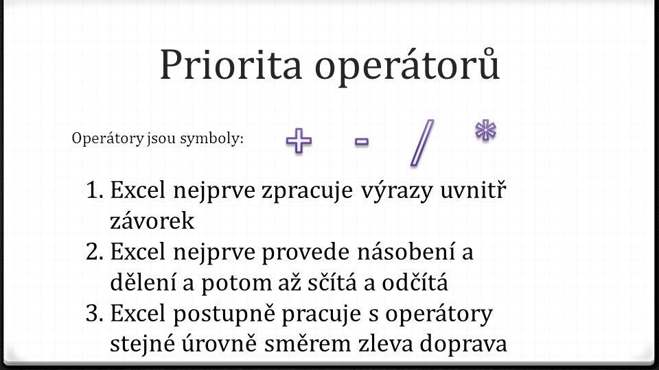 Priorita operátorů Operátory jsou symboly: 1.Excel nejprve zpracuje výrazy uvnitř závorek 2.Excel nejprve provede násobení a dělení a potom až sčítá a