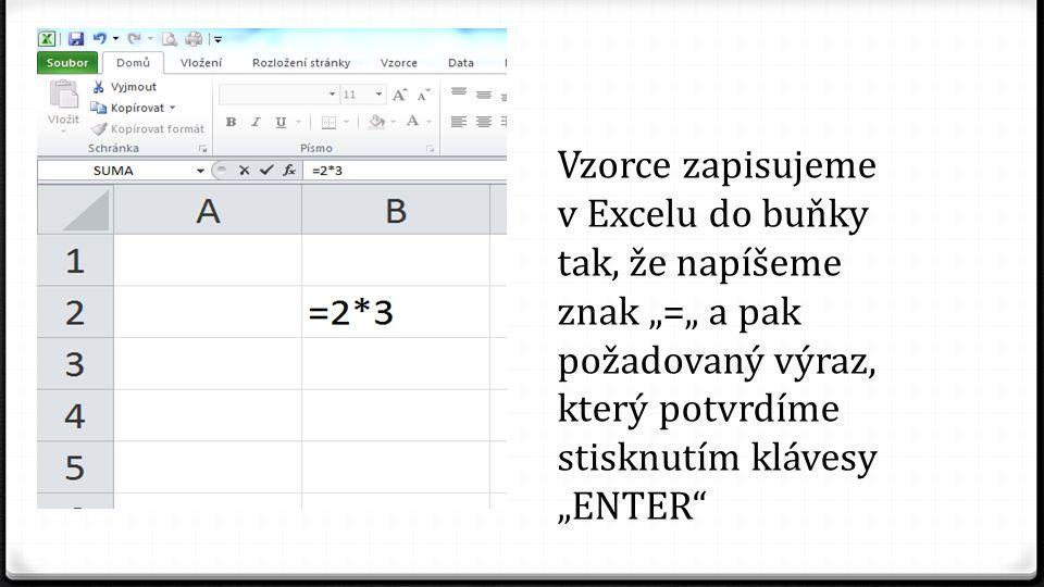 """Vzorce zapisujeme v Excelu do buňky tak, že napíšeme znak """"="""" a pak požadovaný výraz, který potvrdíme stisknutím klávesy """"ENTER"""""""