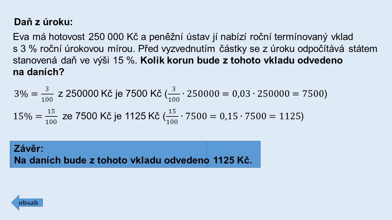 Daň z úroku: obsah Eva má hotovost 250 000 Kč a peněžní ústav jí nabízí roční termínovaný vklad s 3 % roční úrokovou mírou.