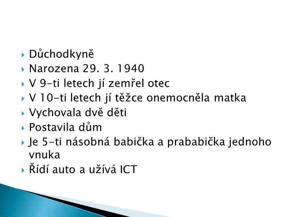  Důchodkyně  Narozena 29. 3.