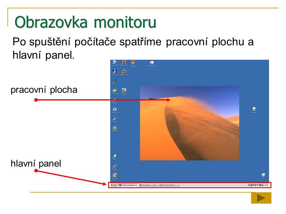Obrazovka monitoru Po spuštění počítače spatříme pracovní plochu a hlavní panel. pracovní plocha hlavní panel
