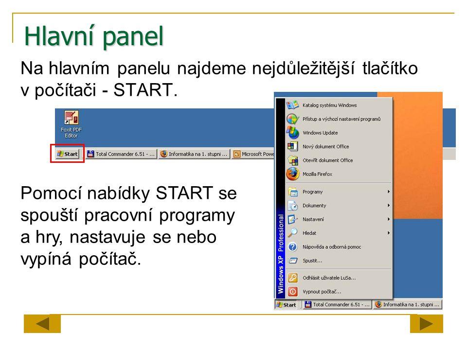 Hlavní panel Na hlavním panelu najdeme nejdůležitější tlačítko v počítači - START. Pomocí nabídky START se spouští pracovní programy a hry, nastavuje