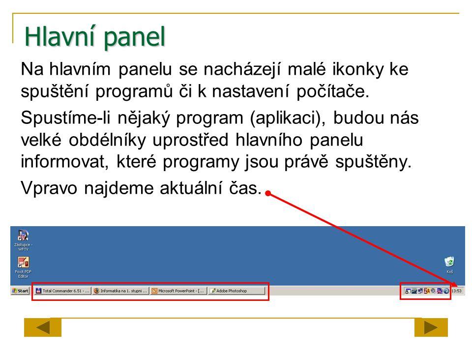 Hlavní panel Na hlavním panelu se nacházejí malé ikonky ke spuštění programů či k nastavení počítače. Spustíme-li nějaký program (aplikaci), budou nás