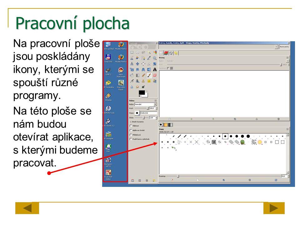 Pracovní plocha Na pracovní ploše jsou poskládány ikony, kterými se spouští různé programy. Na této ploše se nám budou otevírat aplikace, s kterými bu