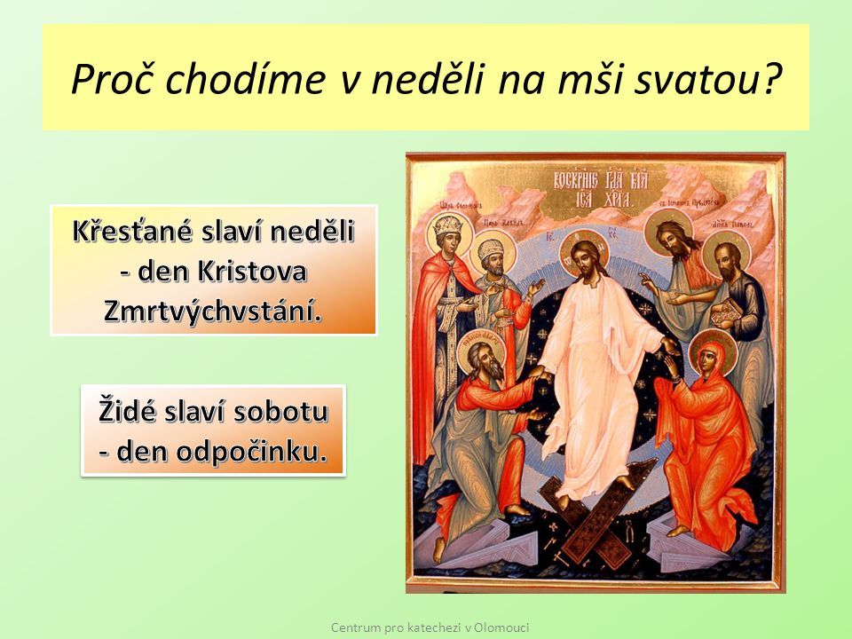 Proč chodíme v neděli na mši svatou Centrum pro katechezi v Olomouci