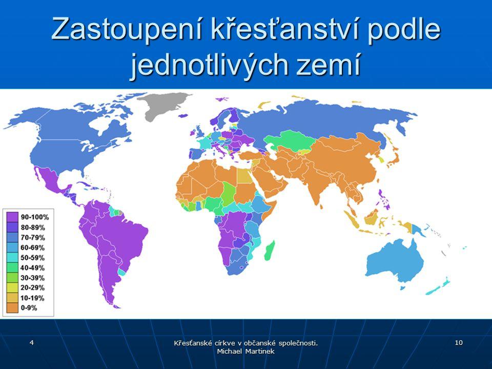 Zastoupení křesťanství podle jednotlivých zemí 4 Křesťanské církve v občanské společnosti. Michael Martinek 10