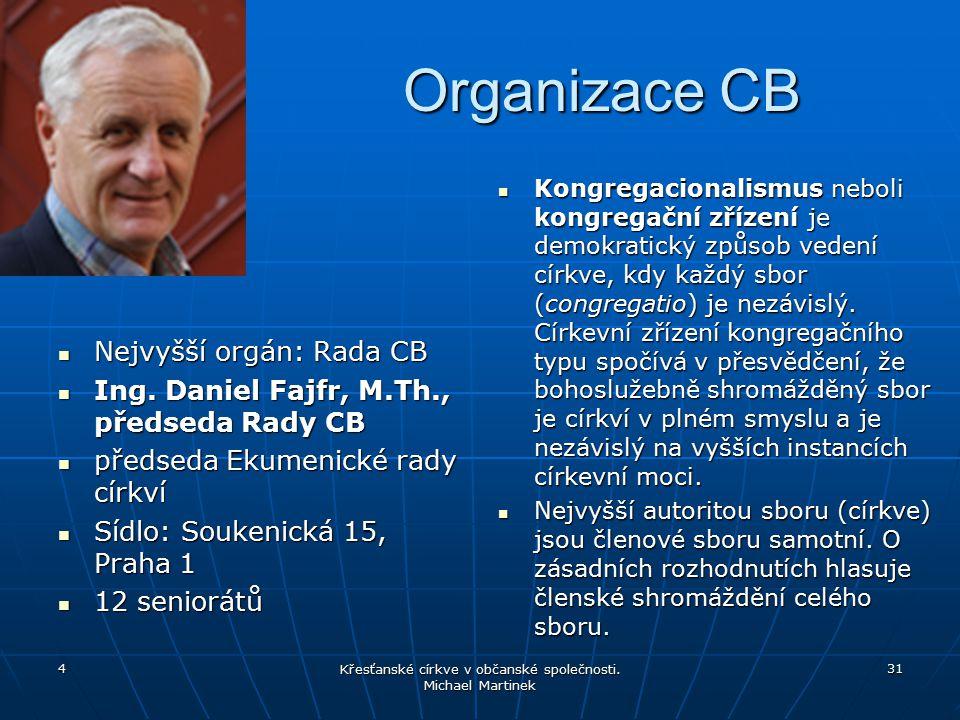 Organizace CB Nejvyšší orgán: Rada CB Nejvyšší orgán: Rada CB Ing. Daniel Fajfr, M.Th., předseda Rady CB Ing. Daniel Fajfr, M.Th., předseda Rady CB př