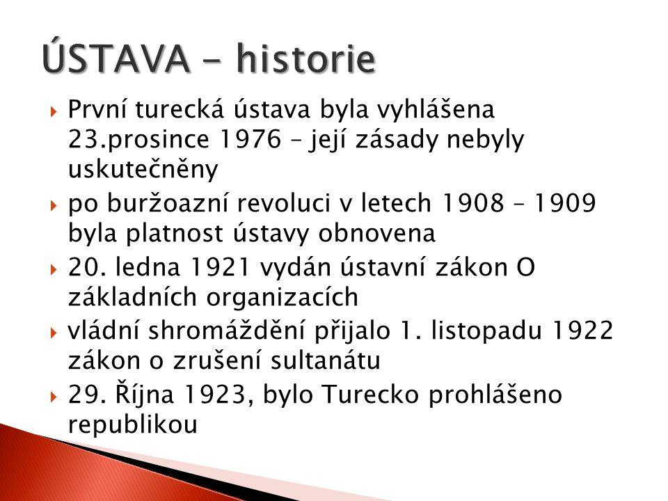  První ústava Turecké republiky byla přijata v Národním shromáždění dne 20.dubna 1924  Po vojenském převratu v roce 1960 byla vyhlášena druhá Turecká republika a byl vypracován nový text ústavy  Nový text ústavy byl schválen všelidovým referendem 9.