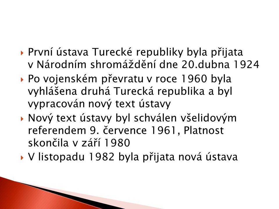  Kritika ústavy z roku 1982 byla v roce2011 styčným bodem ve volební kampani všech politických stran  Vítězná AKP nezískala potřebnou ústavní většinu – hledání spojenců  vytvoření Ústavní usmiřovací komise  Proces vytváření nové ústavy jde však daleko pomaleji, než se původně očekávalo  Ústavní návrh měl být předložen k veřejné rozpravě na počátku roku 2013