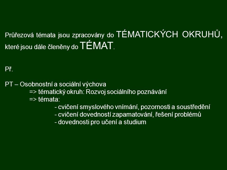 Průřezová témata jsou zpracovány do TÉMATICKÝCH OKRUHŮ, které jsou dále členěny do TÉMAT. Př. PT – Osobnostní a sociální výchova => tématický okruh: R