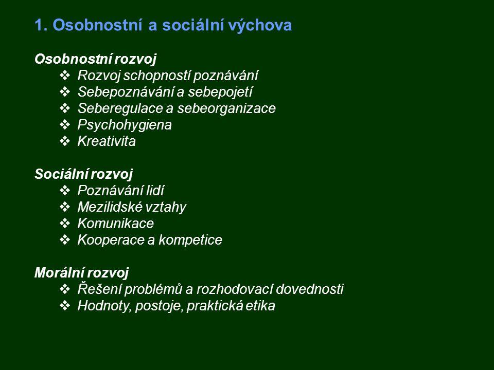 1.Osobnostní a sociální výchova Osobnostní rozvoj  Rozvoj schopností poznávání  Sebepoznávání a sebepojetí  Seberegulace a sebeorganizace  Psychoh