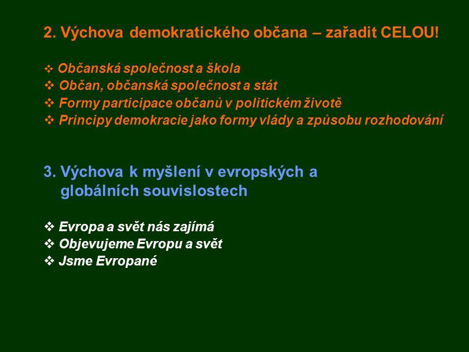 2. Výchova demokratického občana – zařadit CELOU!  Občanská společnost a škola  Občan, občanská společnost a stát  Formy participace občanů v polit