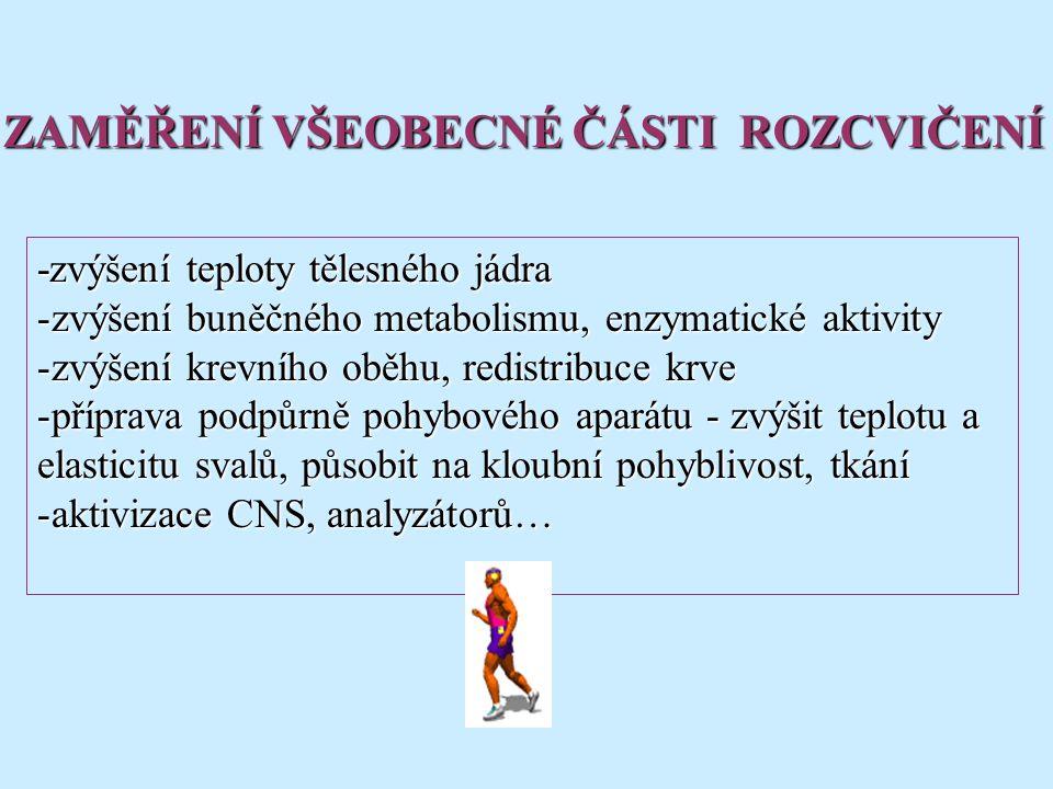 -zvýšení teploty tělesného jádra -zvýšení buněčného metabolismu, enzymatické aktivity -zvýšení krevního oběhu, redistribuce krve -příprava podpůrně pohybového aparátu - zvýšit teplotu a elasticitu svalů, působit na kloubní pohyblivost, tkání -aktivizace CNS, analyzátorů… ZAMĚŘENÍ VŠEOBECNÉ ČÁSTI ROZCVIČENÍ