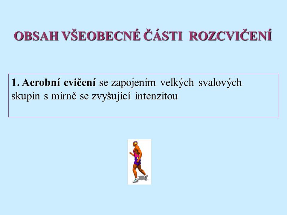 Aerobní cvičení se zapojením velkých svalových skupin s mírně se zvyšující intenzitou 1.