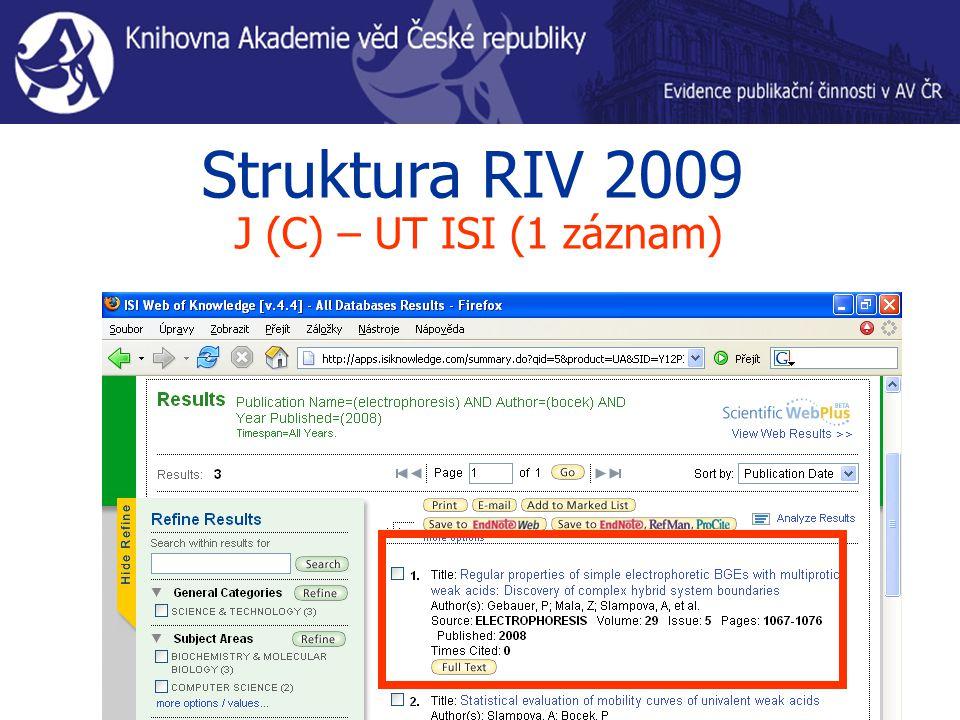Struktura RIV 2009 J (C) – UT ISI (1 záznam)